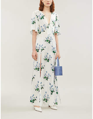 Les Rêveries Split-hem floral-print silk crepe de chine maxi dress