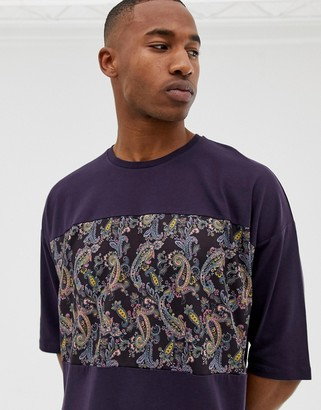 Asos Design DESIGN oversized t-shirt with paisley cut and sew panel with half sleeve-Red