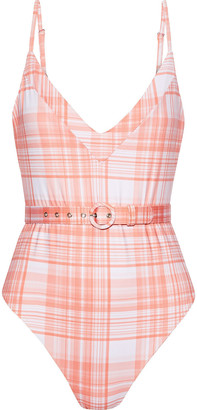 Nicholas Belted Checked Swimsuit