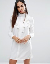 Missguided High Neck Ruffle Front Long Sleeve Shift Dress