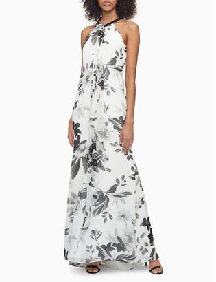 Calvin Klein Floral Chiffon Halter Neck Gown