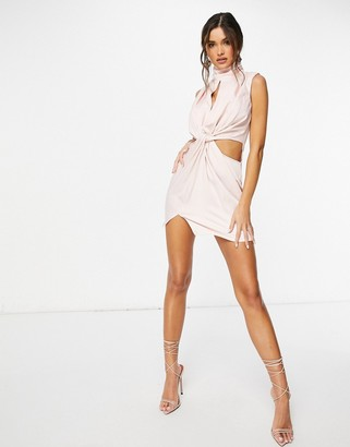 I SAW IT FIRST sleeveless high neck twist front satin dress in pink