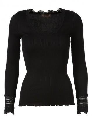 Rosemunde Black - Silk Long Sleeved Top - Wide Lace Cuffs (Benita 5316) - L