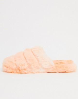 ASOS DESIGN Zoe quilted slide slippers in orange
