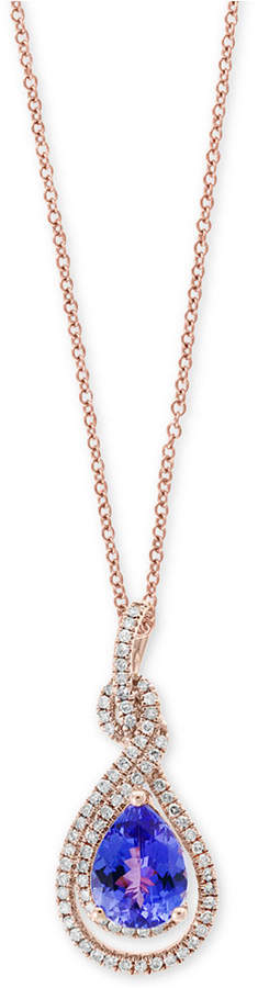 Effy Final Call by Tanzanite (1-1/2 ct. t.w.) and Diamond (1/4 ct. t.w.) Pendant Necklace in 14k Rose Gold