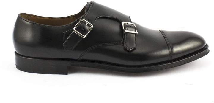 Doucal's Monk Strap In Black Horse Leather