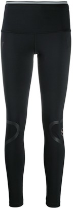 adidas by Stella McCartney Stripe-Detail Logo-Print Leggings