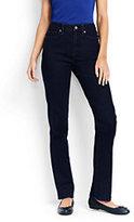 Lands' End Women's Petite High Rise Straight Leg Jeans-Dark Indigo Wash