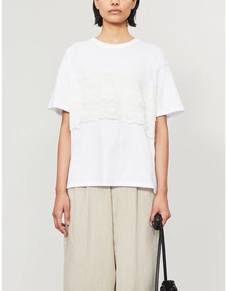Y's Lace-applique cotton-jersey T-shirt