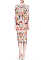 Alexander McQueen Floral-Print Jersey Sheath Dress, Pink/Multi