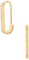 Rebecca Minkoff Mini Pave Safety Pin Hoop Earrings