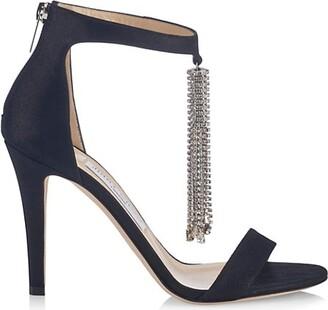 Jimmy Choo Viola Crystal-Tassel Suede Sandals