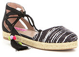 Betsey Johnson Hazyl Satin Ankle Tie Pom Pom & Tassel Detail Espadrilles
