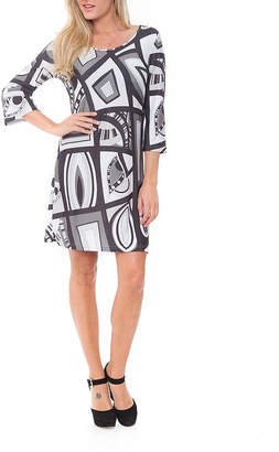White Mark Genevieve 3/4 Sleeve Geometric Sheath Dress