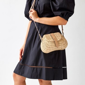 Mark And Graham Wicker and Leather Crossbody