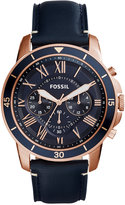 Fossil Men's Chronograph Grant Sport Blue Leather Strap Watch 44mm FS5237