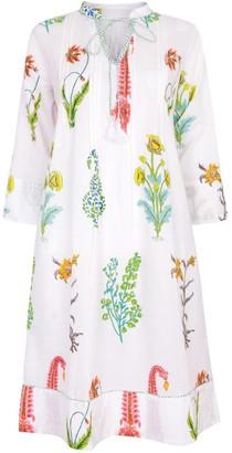 Nologo Chic Botanical Tunic Dress - Pure Cotton - White