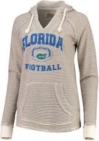 Unbranded Women's Blue 84 Cream Florida Gators Striped Football V-Neck Raglan Pullover Hoodie