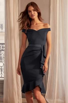 Lipsy Ruffle Bardot Satin Panel Bodycon Dress - 6 - Black