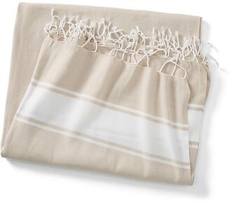 Turkish T Basic Coverlet - Sand/White