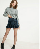 Express high waisted satin ruffle mini skirt