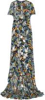 Anna Sui Printed Fil Coupé Silk-blend Chiffon Dress - Navy