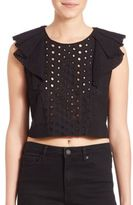 KENDALL + KYLIE Ruffled Eyelet Cropped Top
