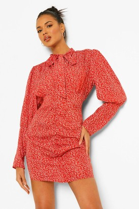 boohoo Ditsy Floral Pussy Bow Ruched Dress
