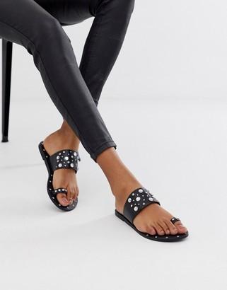 Asos Design DESIGN Fanciful premium leather embellished top loop mules-Black