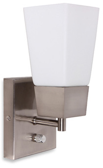 Bed Bath & Beyond Catalina Square Plug-In Wall Sconce in Brushed Steel