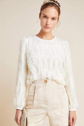 Eri + Ali Mariko Feathered Velvet Sweatshirt