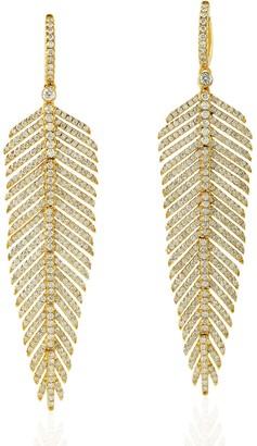 Artisan 18K Yellow Gold Pave Diamond Feather Dangle Earrings Handmade Jewelry