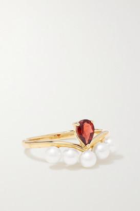 Anissa Kermiche Age Of Innocence 14-karat Gold, Pearl And Garnet Ring