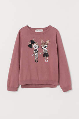 H&M Sequin-motif Sweater - Pink