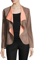 Lafayette 148 New York Suede & Leather Combo Jacket, Nutmeg/Peach