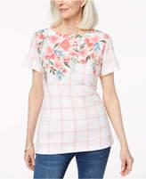 Karen Scott Mixed-Print T-Shirt, Created for Macy's