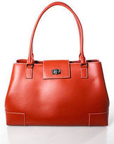 Lambertson Truex Orange Leather Satchel Shoulder Handbag
