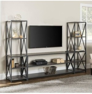 "Walker Edison 3-Piece Storage Wall with 60"" X-Console"