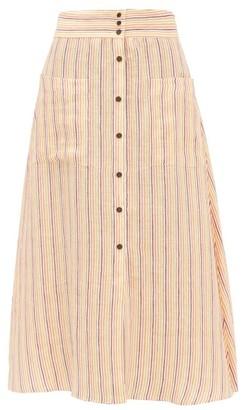 Three Graces London Anna Striped Button-down Linen Midi Skirt - Multi