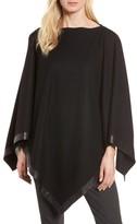 Eileen Fisher Petite Women's Leather Trim Wool Poncho