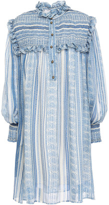 Philosophy di Lorenzo Serafini Ruffled Shirred Printed Silk-blend Chiffon Mini Dress
