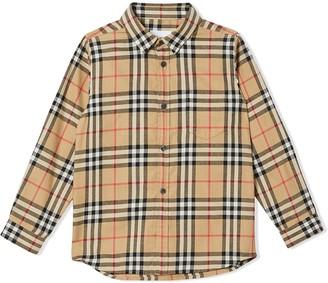 BURBERRY KIDS Vintage Check cotton flannel shirt