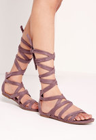 Missguided Cross Strap Wrap Around Flat Sandals Pink