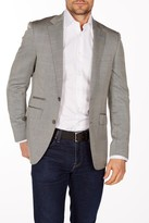Levinas Gray Herringbone Two Button Notch Lapel Wool Slim Fit Blazer