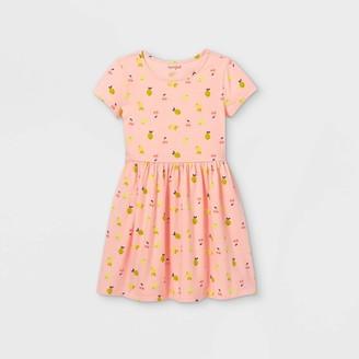 Cat & Jack Girls' Printed Knit Short Sleeve Dress - Cat & JackTM Powder