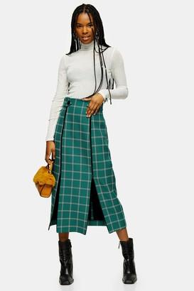 Topshop Green Check Split Trim Midi Skirt