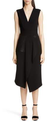 Yigal Azrouel Leather Pocket Mechanical Stretch Midi Dress