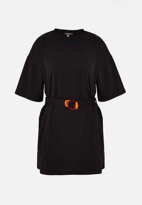 Missguided Petite Black Tortoise Shell Belted Oversized T Shirt Dress