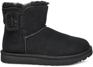 UGG Classic Mini Bailey Fluff Buckle 2 Nubuck Ankle Boots