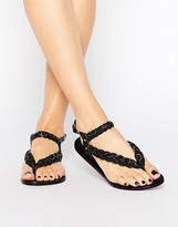 Park Lane Plaited Leather Flat Sandals